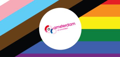New Pride Flag met COC Amsterdam e.o. logo